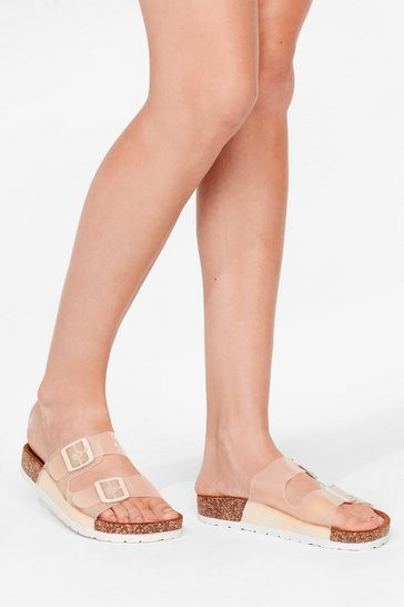 Beige Clear Double Strap Buckle Sandals