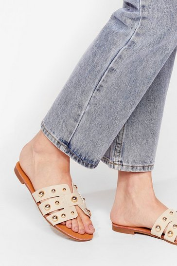 Beige Stud Waiting Faux Leather Flat Sandals