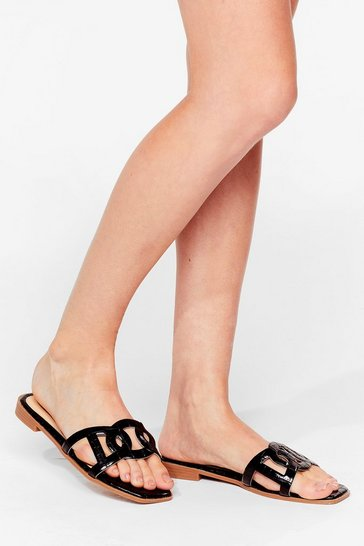 Black Take Us Cut-Out Faux Suede Flat Sandals