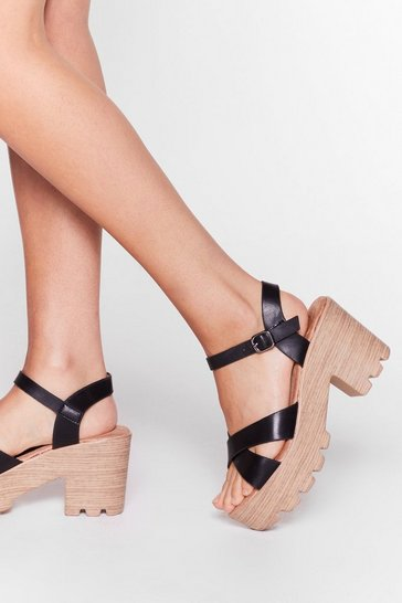 Black Faux Leather Platform Heeled Sandals