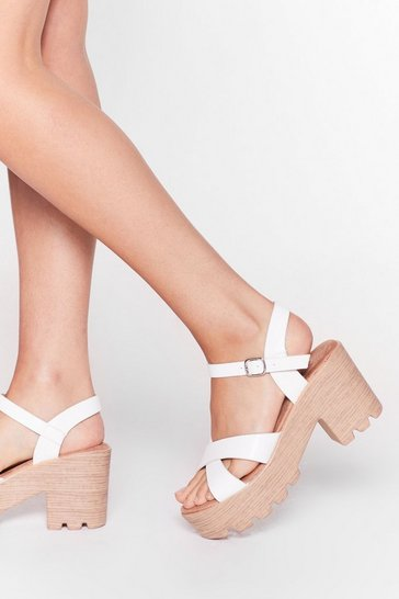 Faux Leather Let You Down Heeled Sandals, White