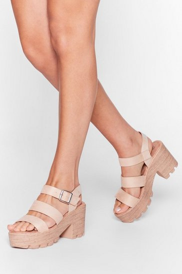 Beige Wooden It Be Nice Cleated Heeled Sandals