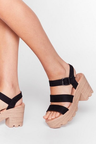 Black Wooden It Be Nice Cleated Heeled Sandals