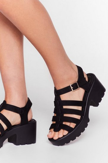 Black FAUX SUEDE CLEATED FISHERMAN SANDALS