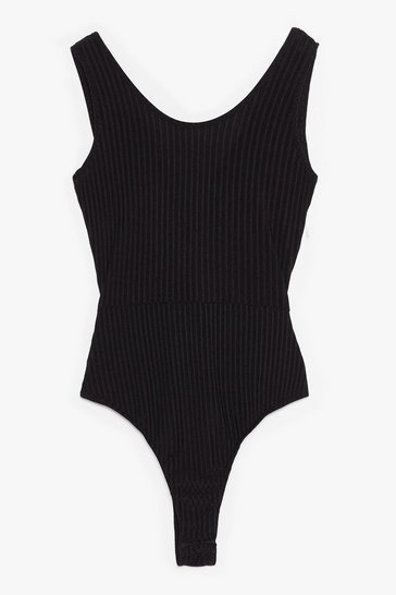 Black Move Your Body Ribbed Tie Bodysuit