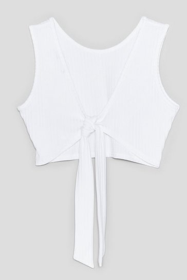 White Rolling in the Deep Ribbed Tie Crop Top