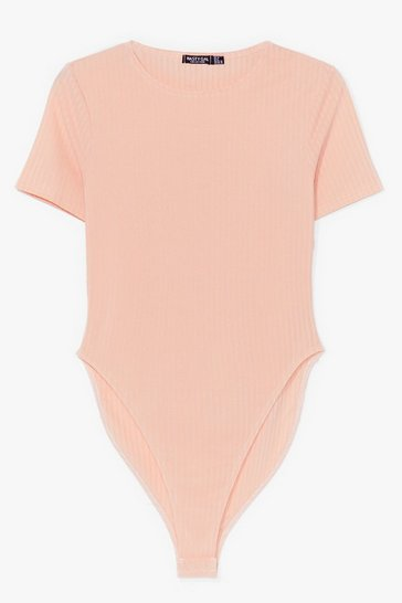 Nude Let Me Rib-peat Myself High-Leg Bodysuit