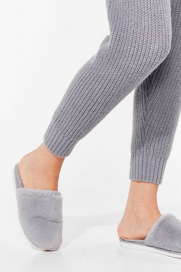 Grey Faux Fur Your Information Slip-On Slippers