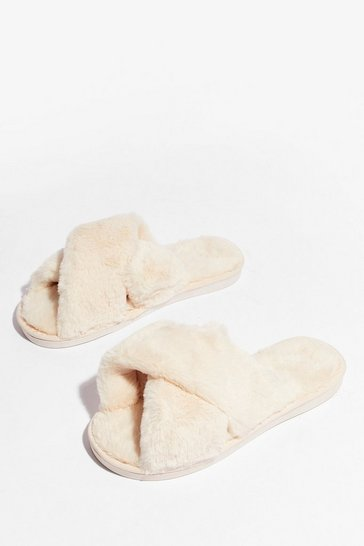 Cream Not Ready Faux Fur Today Slippers