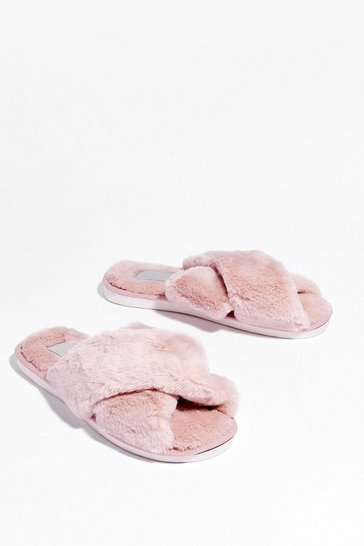 Dusky pink Not Ready Faux Fur Today Slippers