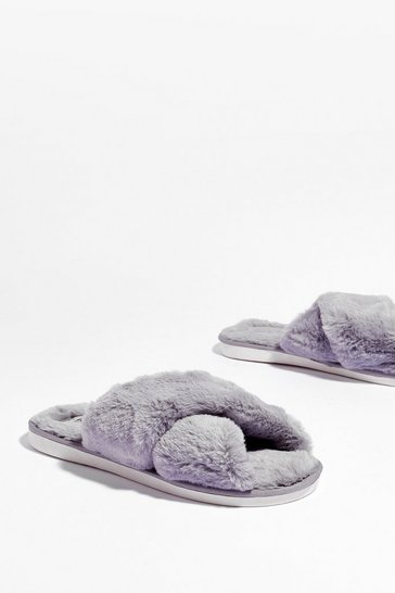 Grey Not Ready Faux Fur Today Slippers