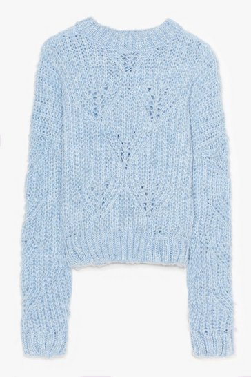 Blue Keep Knit Simple Plus Cable Knit Sweater