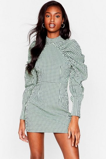 Green Check Puff Sleeve Bodycon Mini Dress