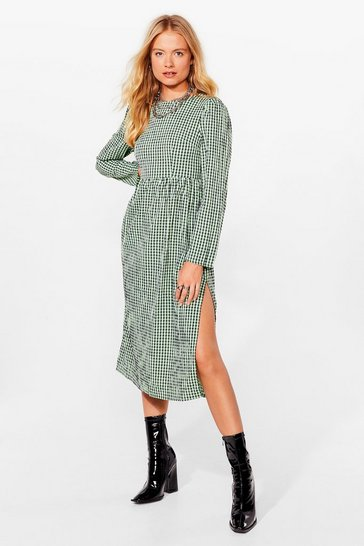 Green Check It Right Gingham Midi Dress