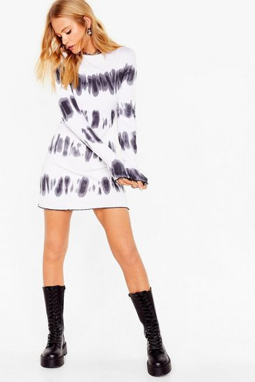 White tie dye long sleeve rib mini dress
