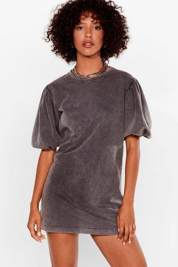 Grey Acid Wash Puff Sleeve Sweatshirt Dress