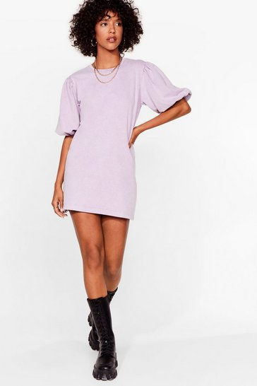 Lavender Acid Wash Puff Sleeve Sweatshirt Dress
