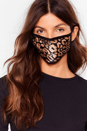 Black Gold Always Believe Leopard Fashion Face Mask