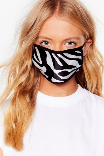 Cream Herd Up Zebra Fashion Face Mask