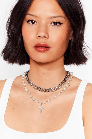 Silver Crossing Paths Pearl-Inspired Chain Necklace