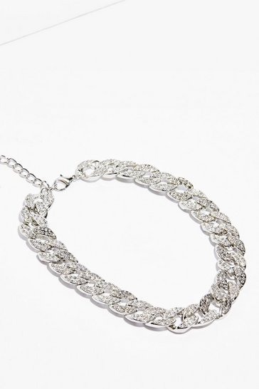 Silver The Pleasure is Shine Curb Chain Necklace