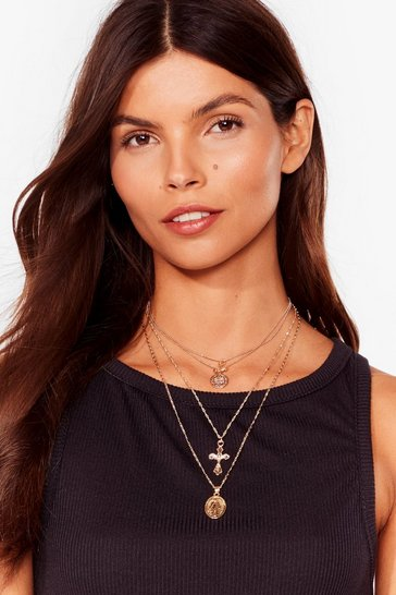 Gold Cross the Record Layered Necklace