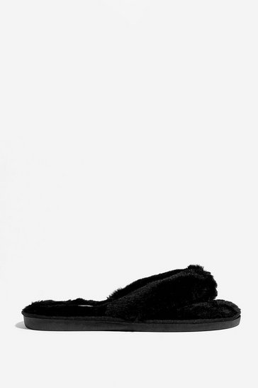 Black We're All in This Toe-gether Faux Fur Slippers