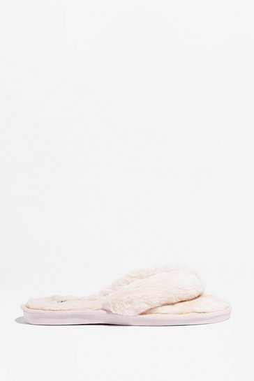 Cream We're All in This Toe-gether Faux Fur Slippers