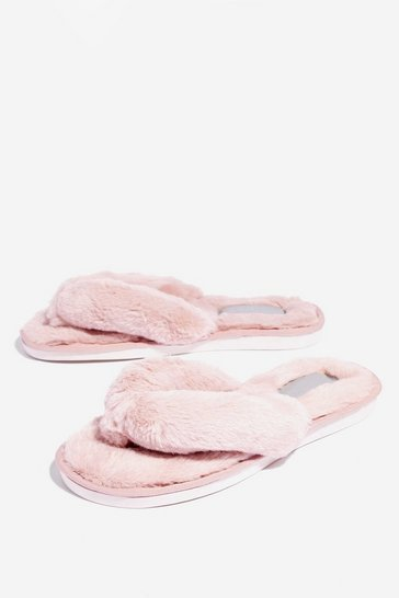 Dusky pink We're All in This Toe-gether Faux Fur Slippers