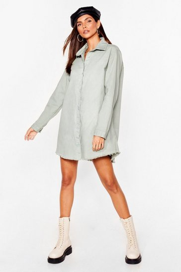 Sage Oversized Raw Hem Denim Shirt Jacket