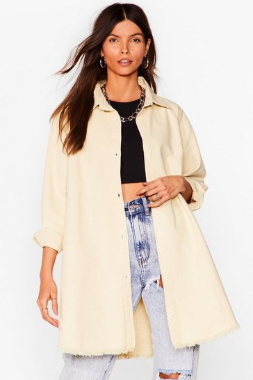 Stone Frayed Hem Oversized Denim Shirt