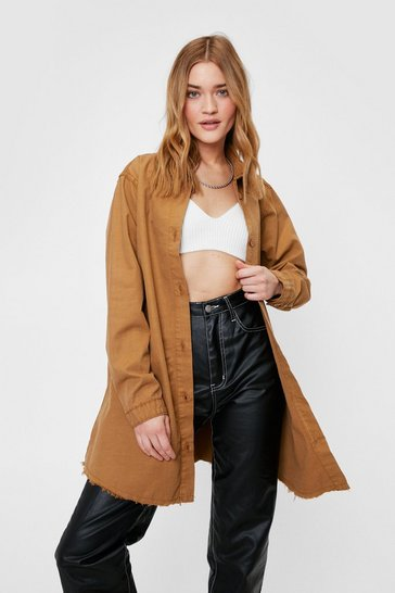 Tan Oversized Raw Hem Denim Shirt Jacket