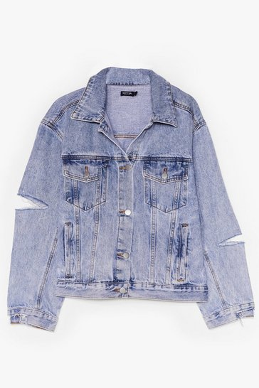 Light blue All in Your Shred Distressed Denim Jacket