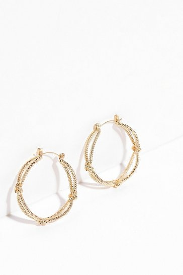 Gold We Rope Your Happy Hoop Earrings