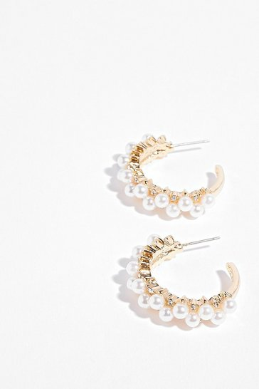 Gold You Rock My Pearl Embellished Hoop Earrings