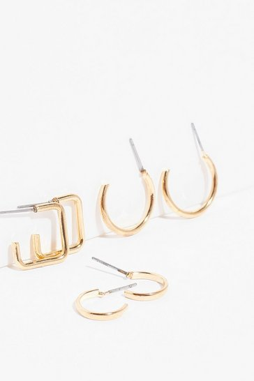 Gold Throw Some Shapes 3-Pc Hoop Earring Set
