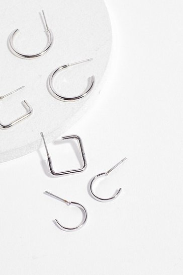Silver Throw Some Shapes 3-Pc Hoop Earring Set
