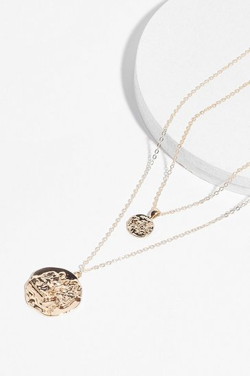 Gold Coin Together Layered Chain Necklace