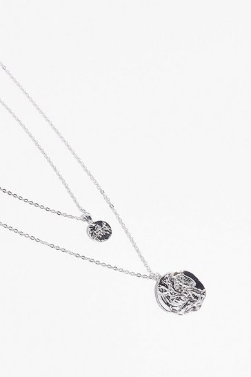 Silver Coin Together Layered Chain Necklace