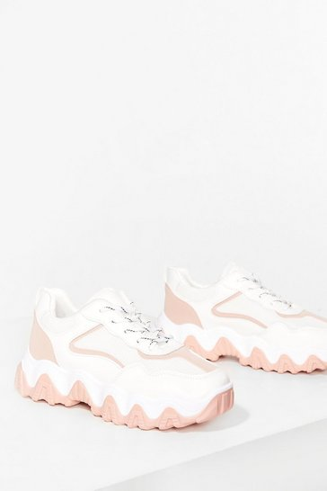 Pink Faux leather contrast chunky trainers