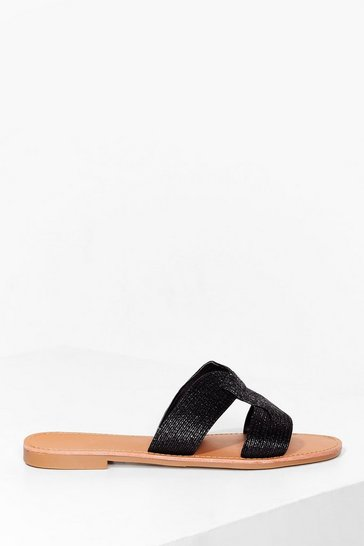 Black Macrame cut out flat mules