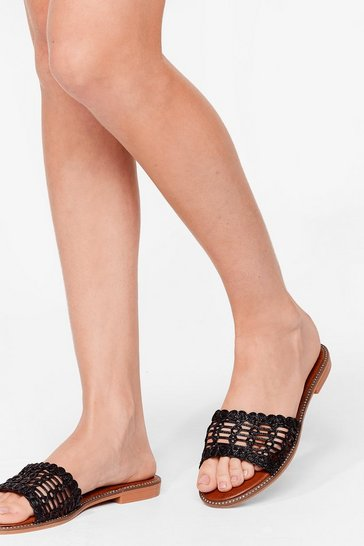 Black Long Hot Summer Woven Flat Sandals