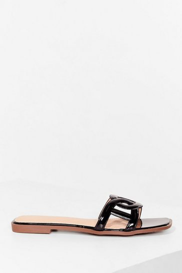 Black Faux Leather Circular link square toe flat mules