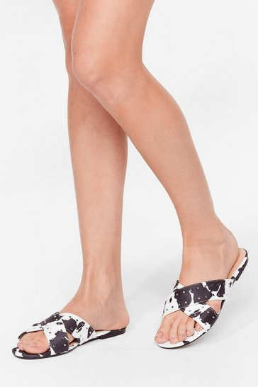 White Cow Print Studded Flat Sandals