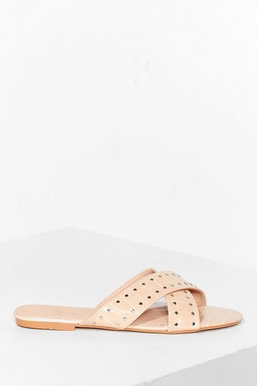 Nude Pin 'Em Over Studded Flat Mules