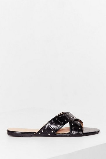 Black Pin stud cross strap flat  mules