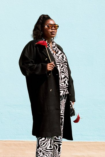 Black Plus Size Longline Faux Wool Coat