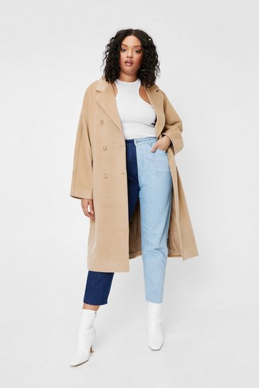 Camel Plus Size Longline Faux Wool Coat