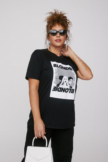 Black Fade Away Blondie Plus Graphic Band Tee