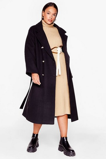 Black Coat to Self Plus Belted Oversized Coat
